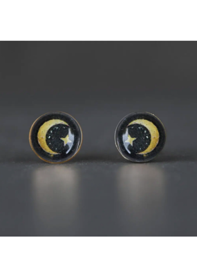 KBD Studio Tiny Picture Studs- Moon & Stars