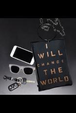 KBD Studio Change the World Canvas Ring Purse
