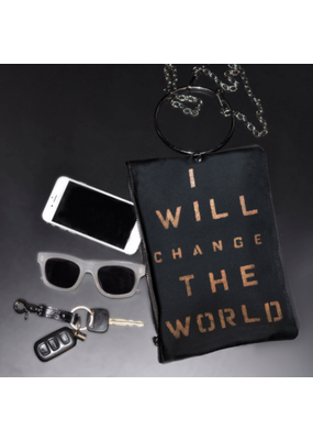 KBD Studio Change the World Canvas Ring Purse