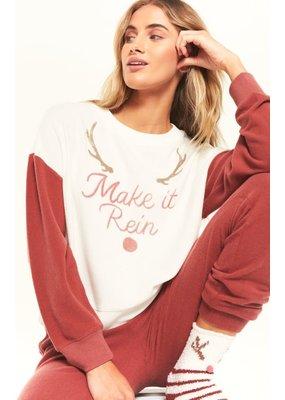 Z Supply Z Supply Elle Make it Rein Sweatshirt- Rosy Red