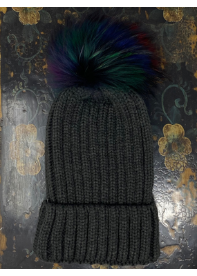 Rib Beanie w/ Colorful Pom