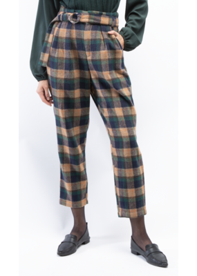 Oat Ny High Rise Belted Plaid Flannel Pant