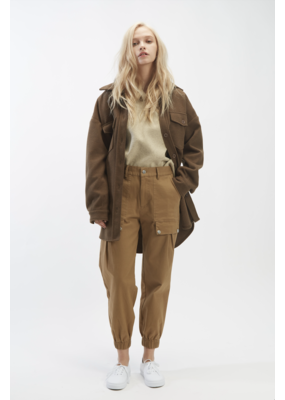Oat Ny Brown Belted Shirt Jacket