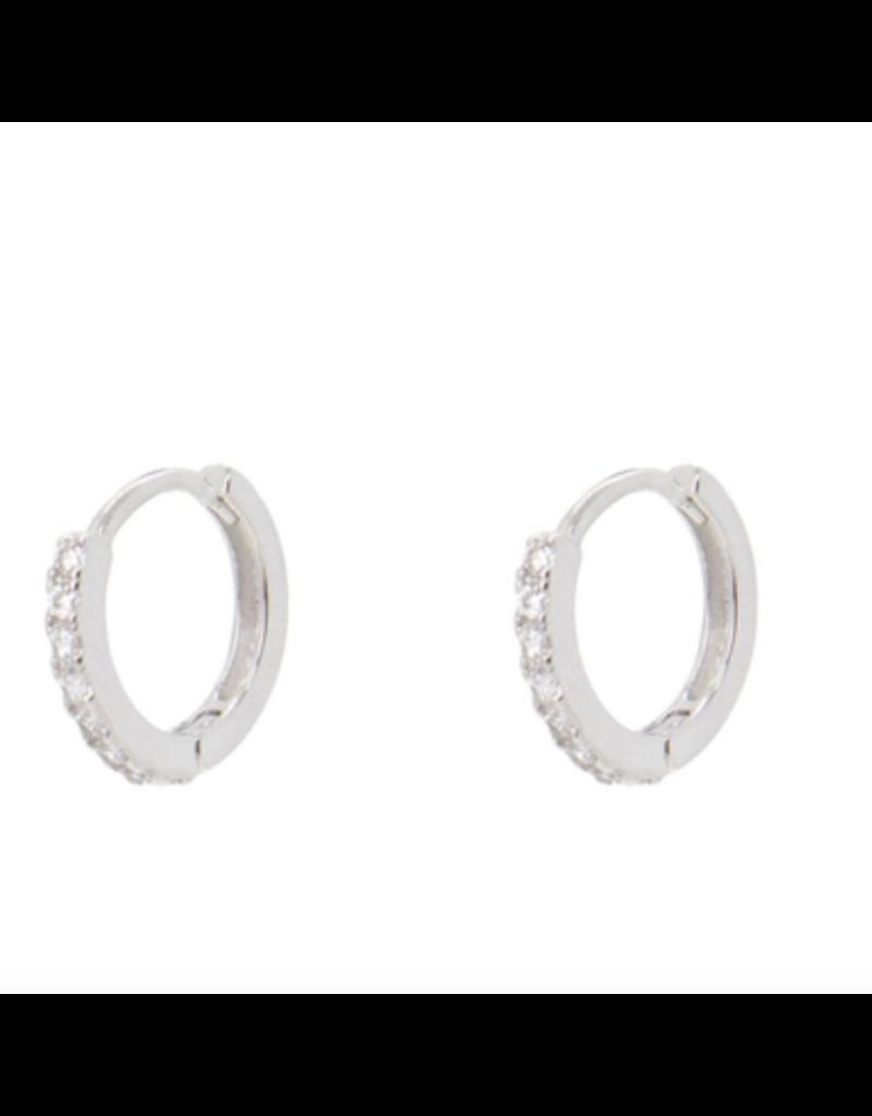 Kestan Alva White Huggie Hoop Earring