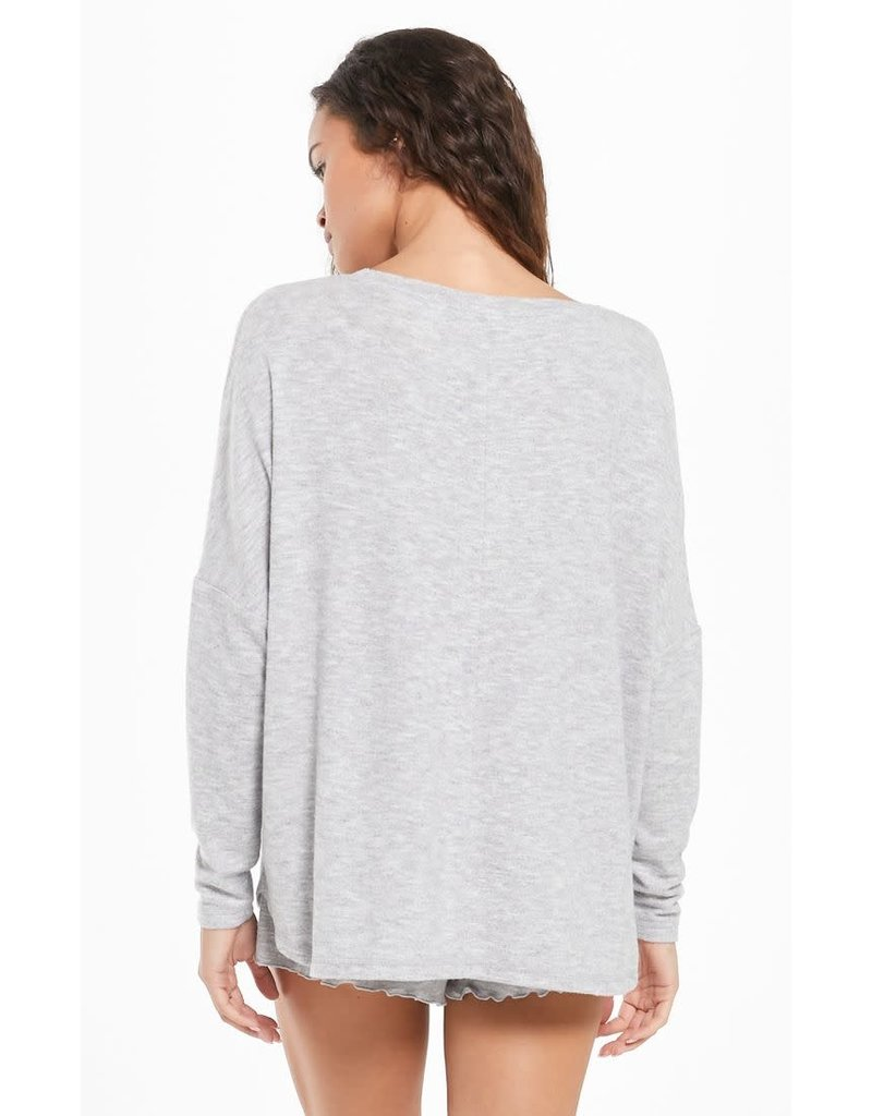 Z Supply Hang Out LS Top- Heather Grey