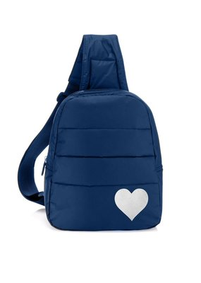 HiLove Crossbody Backpack- Navy with Silver Heart