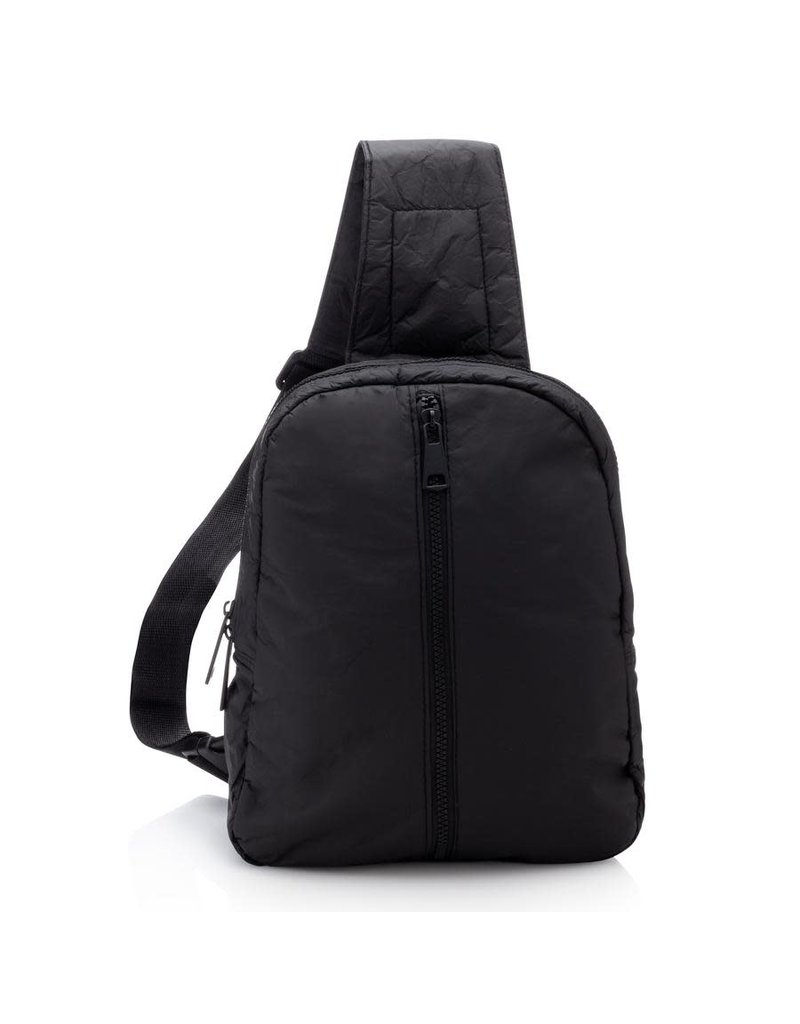 HiLove Crossbody Backpack- Black with Outside Zip Front Pocket