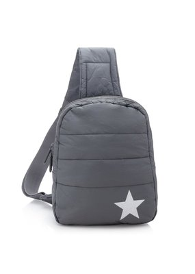 HiLove Crossbody Backpack- Cool Grey w Metallic Star