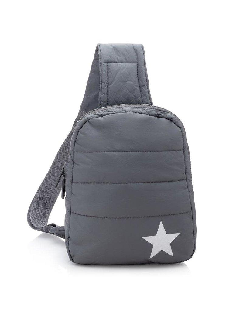 HiLove Crossbody Backpack- Cool Grey w Metallic Star