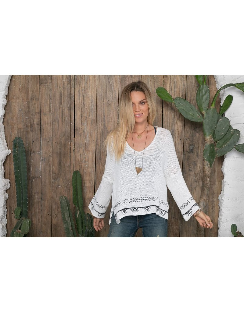 Wooden Ships Levi Cotton Sweater Breaker White/Black