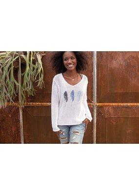 Wooden Ships Feather V Cotton Sweater Breaker White/Indigo