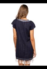 Subtle Luxury Tassel V Dress Dark Denim with Silver