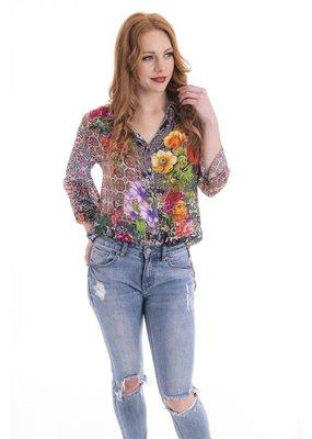 Cienna Poppy Silk Digital Shirt