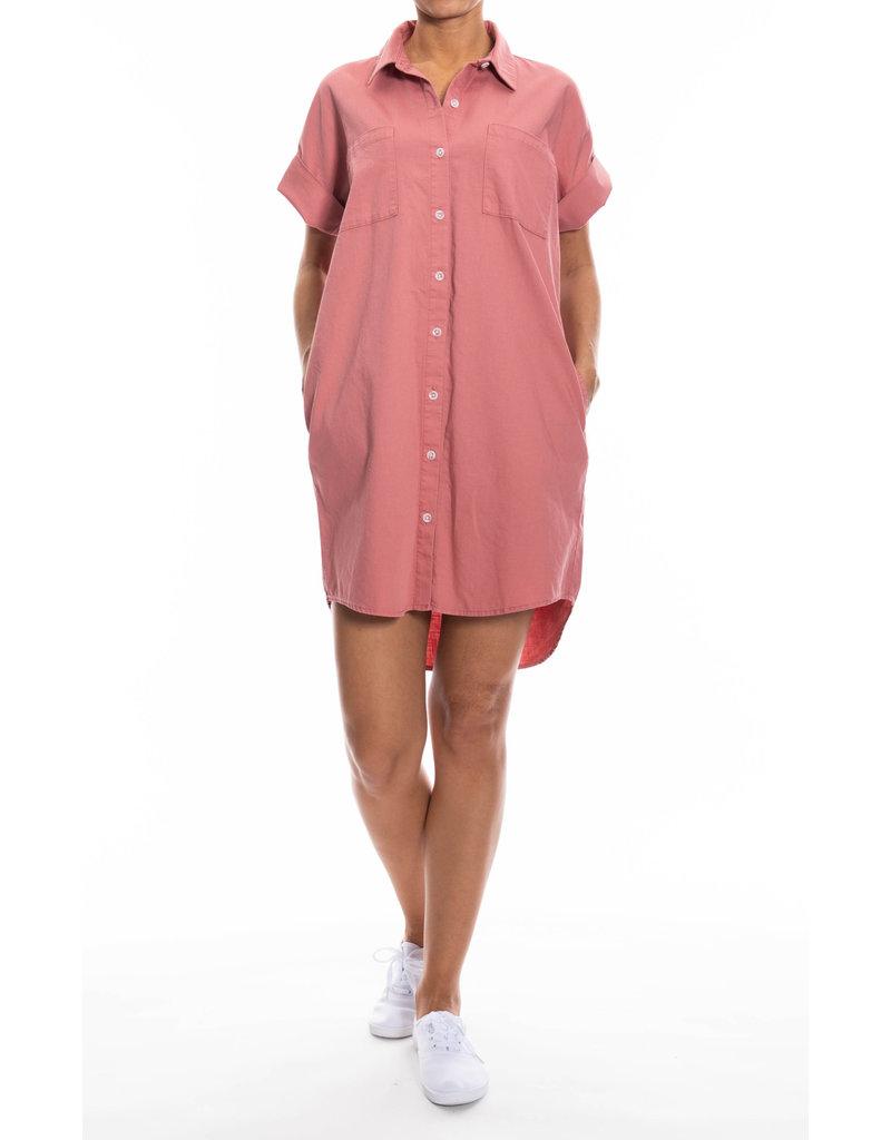 Oat NY Short Sleeved Oversized Shirtdress Coral