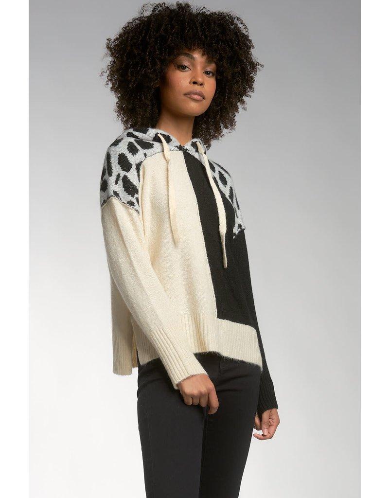 Elan Cream Black Block Sweater