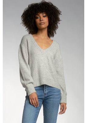 Elan Heather Grey V-Neck Sweater