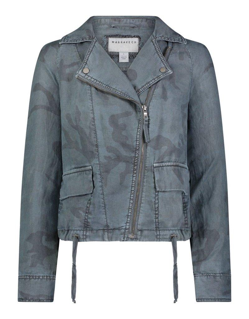 Marrakech Aspen Printed Linen Jacket Blue Stone Camo
