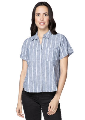 Subtle Luxury Linen Anne Button Up Navy