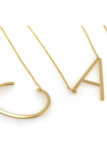 Cool and Interesting Gold Medium Sideways Initial Necklace
