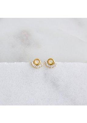 Mesa Blue CZ Opal Stud Earrings