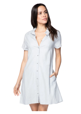Subtle Luxury Linen Wynne Collar Dress Fog