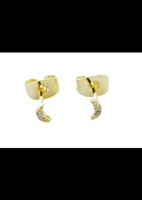 Honeycat Jewelry Mini Moon Crystal Stud Earrings