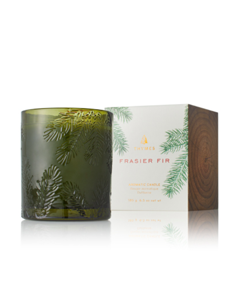Thymes Molded Green Glass Fir Candle