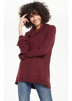 Z Supply Ali Cowl Slub Sweater Merlot