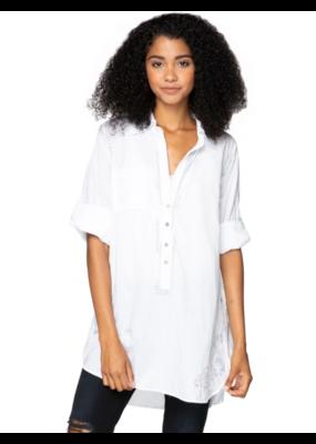 Subtle Luxury Boyfriend Shirt with Silver Lurex Embroidery