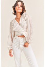 Reset by Jane White Combo Wrap Blouse