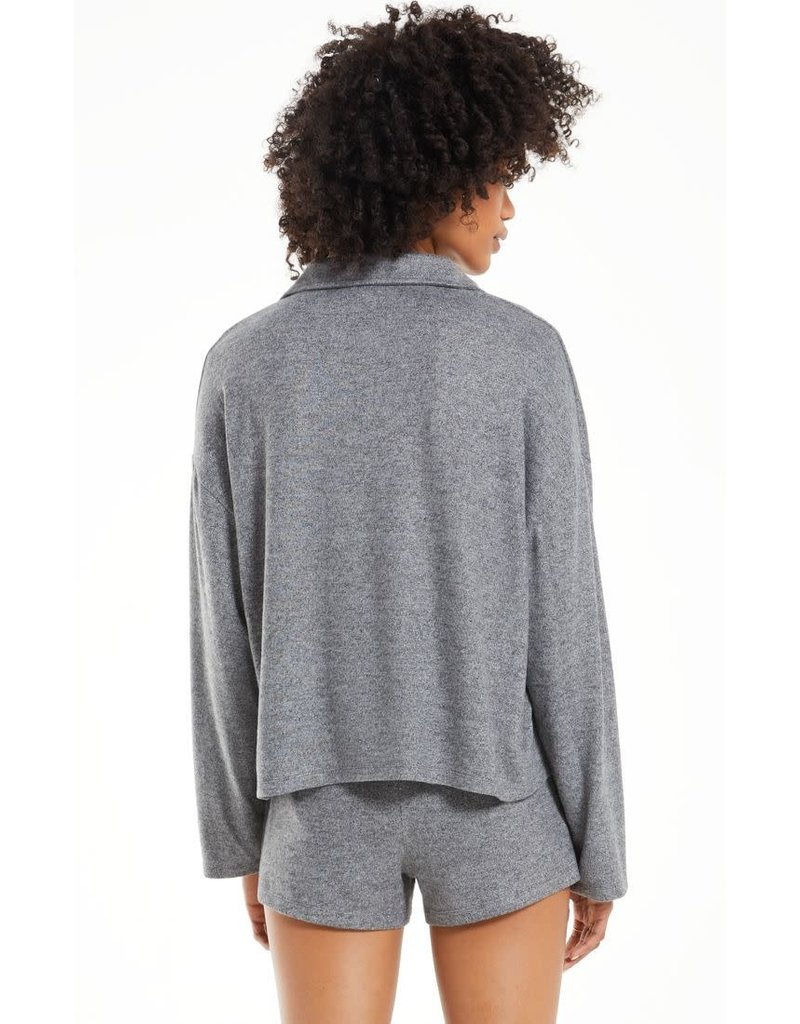 Z Supply Game On Silky Long Sleeve Top Heather Black