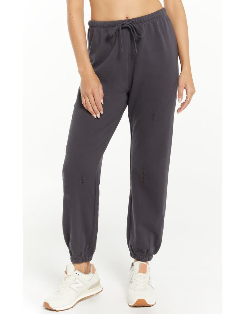 Z Supply Aria Distressed Jogger Washed Black