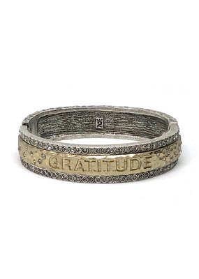 Gratitude Bangle Vintage Silver