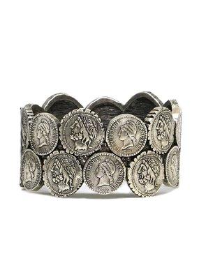 Double Coin Bangle Vintage Silver