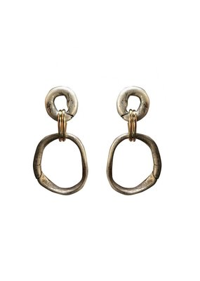 Loop Connector Earrings Vintage Silver