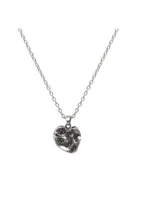 Medium Vintage Silver Impression Heart Necklace