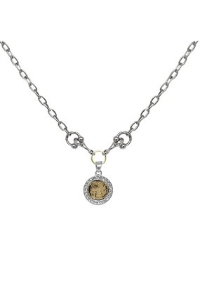 Mini Coin & Horsebit Necklace Vintage Silver
