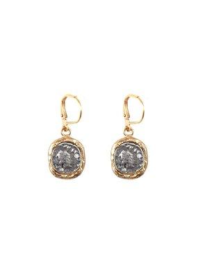 Pavia Coin & Frame Dangle Earrings 24K Gold