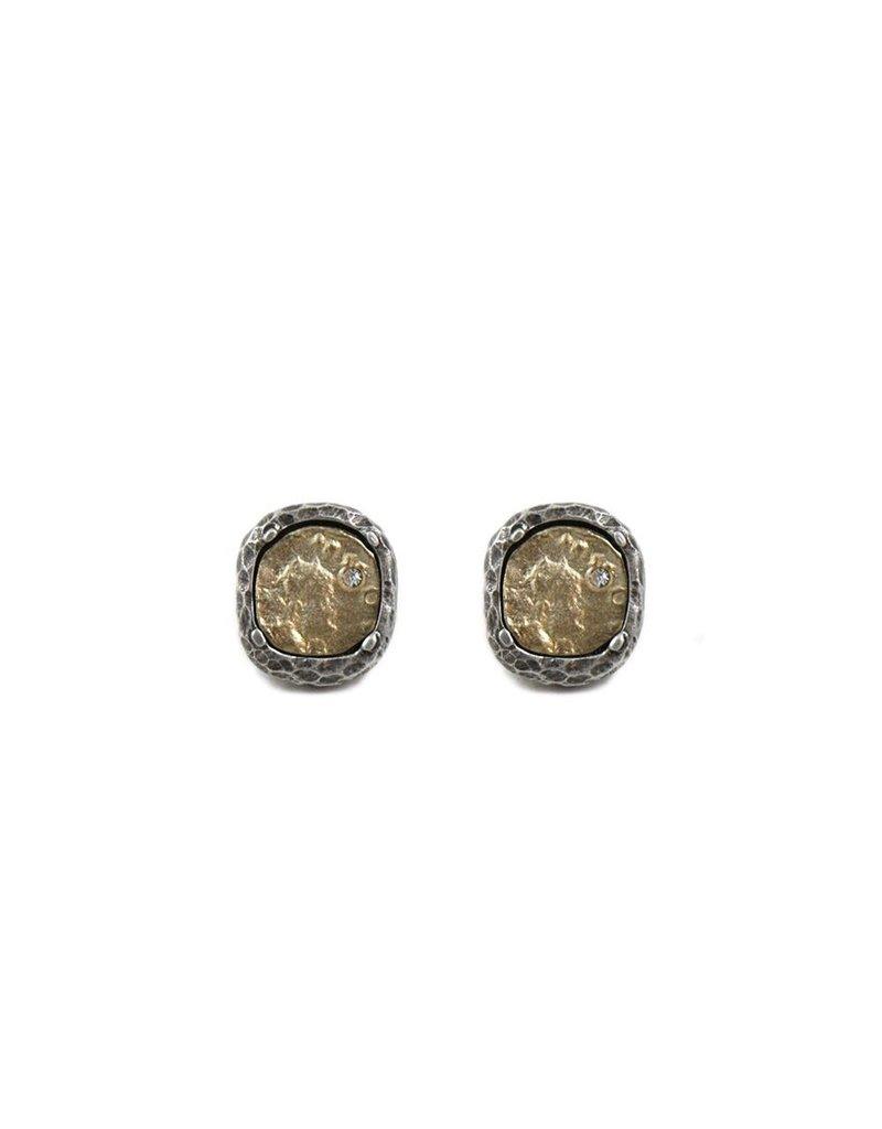 Pavia Coin & Frame Stud Earrings