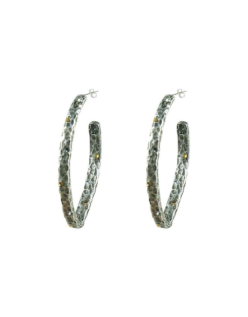 Siena Hammered V-Shape Hoop Earrings Vintage Silver