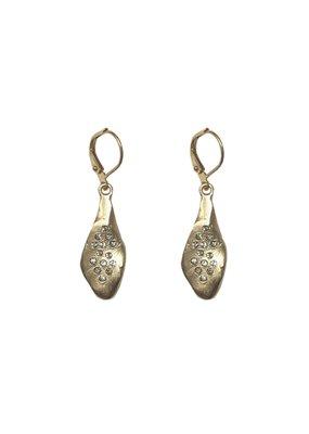 Tear Drop Crystal Impression Earrings 24K Gold