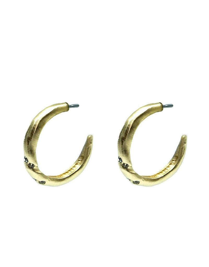 """Thin Twisted 1"""" Crystal Hoops 24K Gold"""