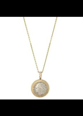 Wilhelmina Coin & Crystal Necklace 24K Gold