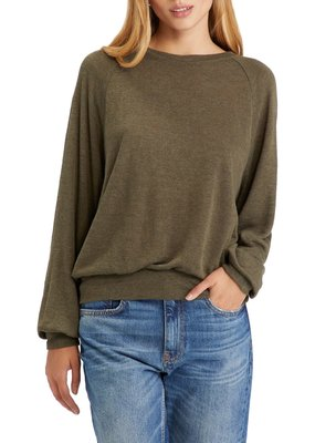 Sanctuary Dreamland Knit Popover Heather Outdoor Green