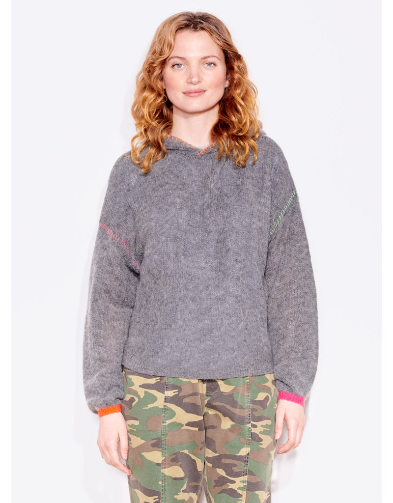 Sundry Pop Embroidery Hoodie Charcoal