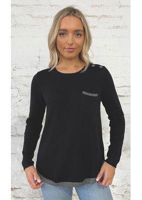 Pocket Detail Sweater Black Combo