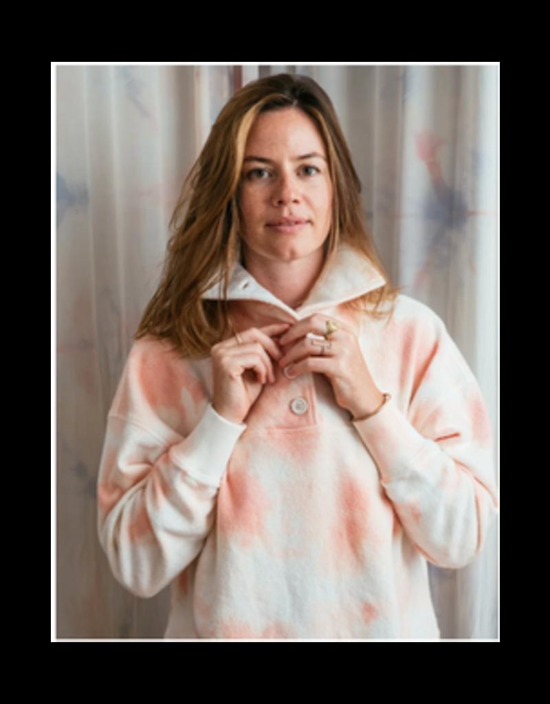 Tie Dye Fleece Popover Pink