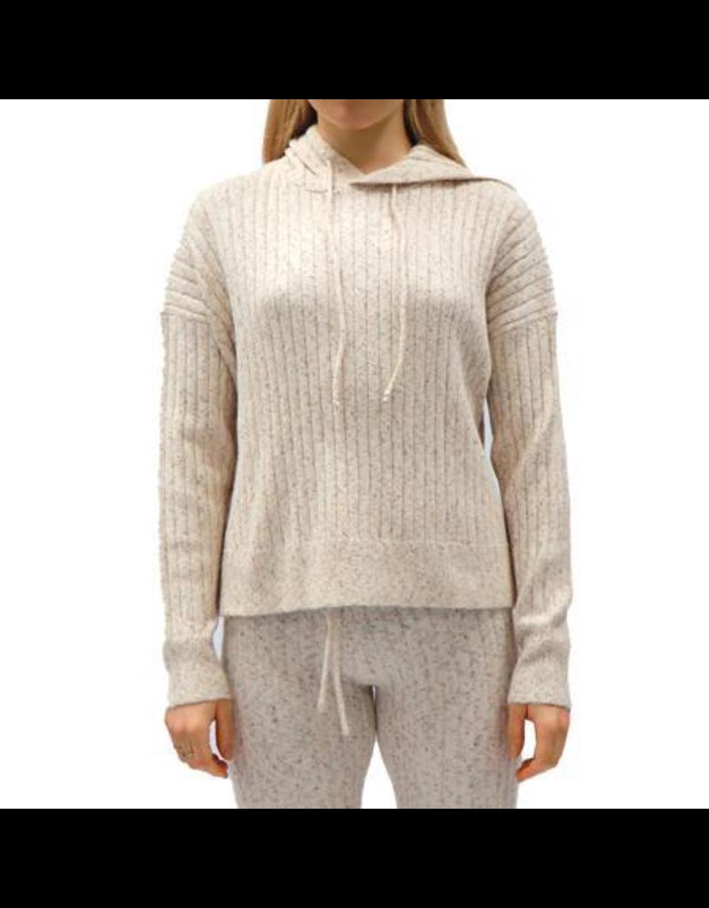 Ladies Knit Hooded Sweater Tweed Mix