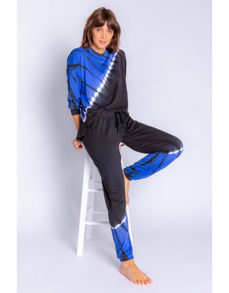 PJ Salvage Slounge Long Sleeve Top Tie Dye Cobalt Blue