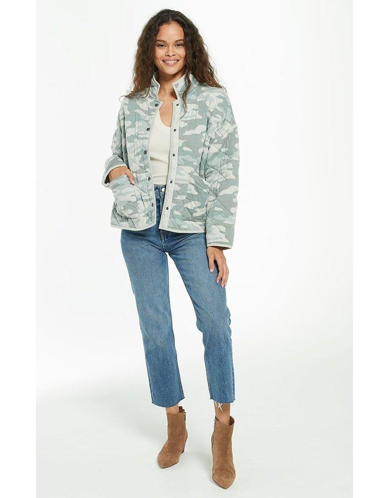 Z Supply Maya Camo Quilted Jacket - Camo Dusty Sage